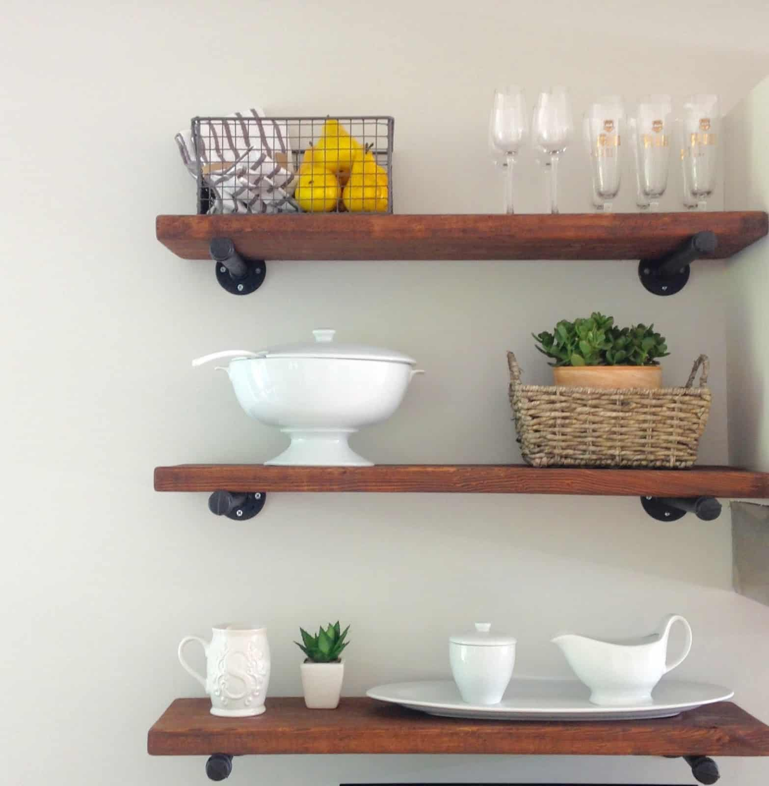 diy rustic kitchen shelves