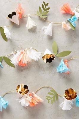 anthro paper flower garland