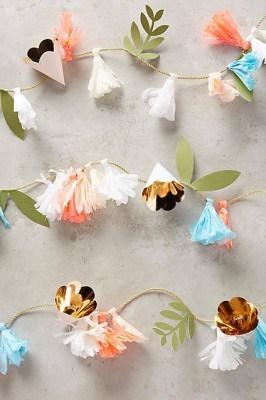anthro paper flower garland