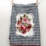 Vintage Floral and Gingham Kitchen Towel