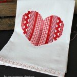 Ribbon Heart Valentine Tea Towel