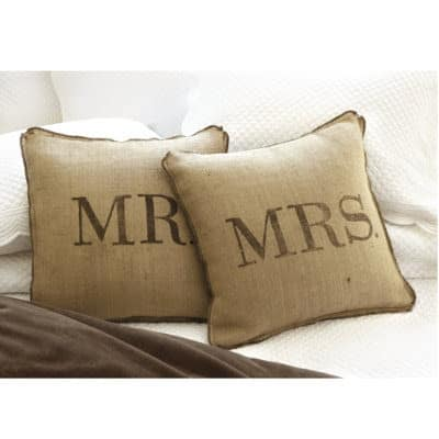 DIY Mr. and Mrs. Bedroom Pillows