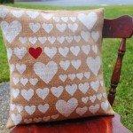 Stenciled Heart Burlap Pillow Cover
