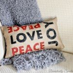 Burlap Peace, Love, and Joy Pillow