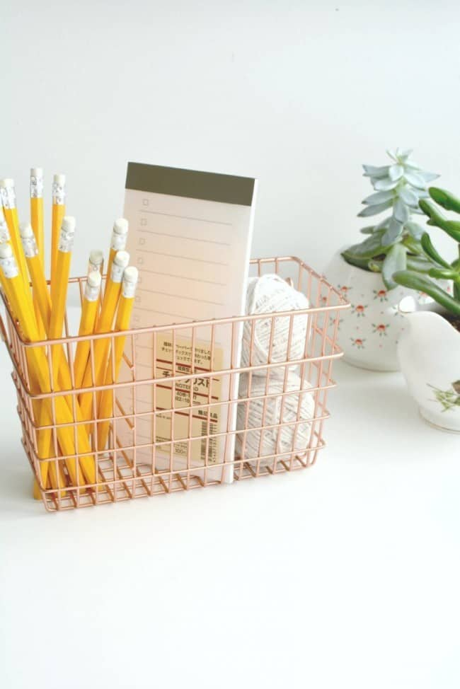 copper desk organizer