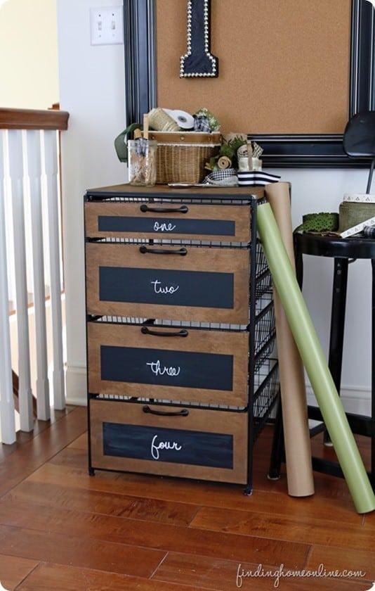 Industrial Wood And Metal Craft Room Storage