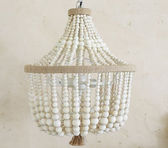Chic wood bead chandelier pottery barn beaded chandelier aloadofball Image collections