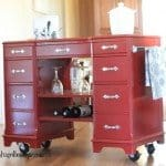 Vintage Desk to Rolling Bar Cart
