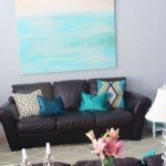 Blue and Green Abstract Statement Art