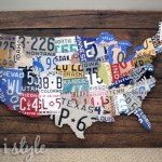 Vintage License Plate Map Pallet Art