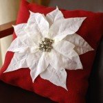 No-Sew Poinsettia Pillow