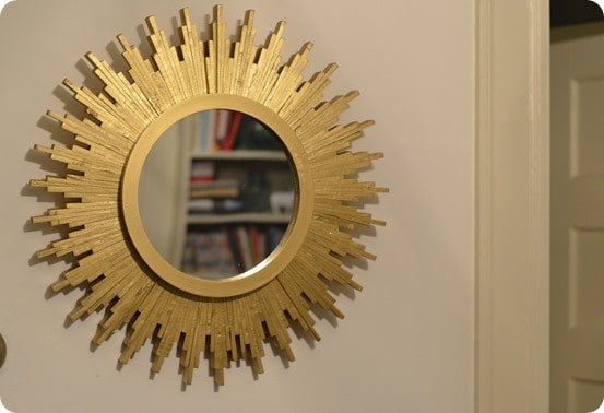 Metallic Gold Sunburst Mirror From Wood Shims
