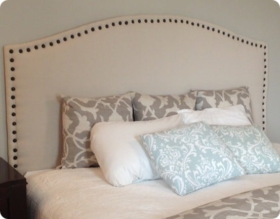 Drop Cloth Upholstered Headboard with Nailhead Trim - KnockOffDecor.com