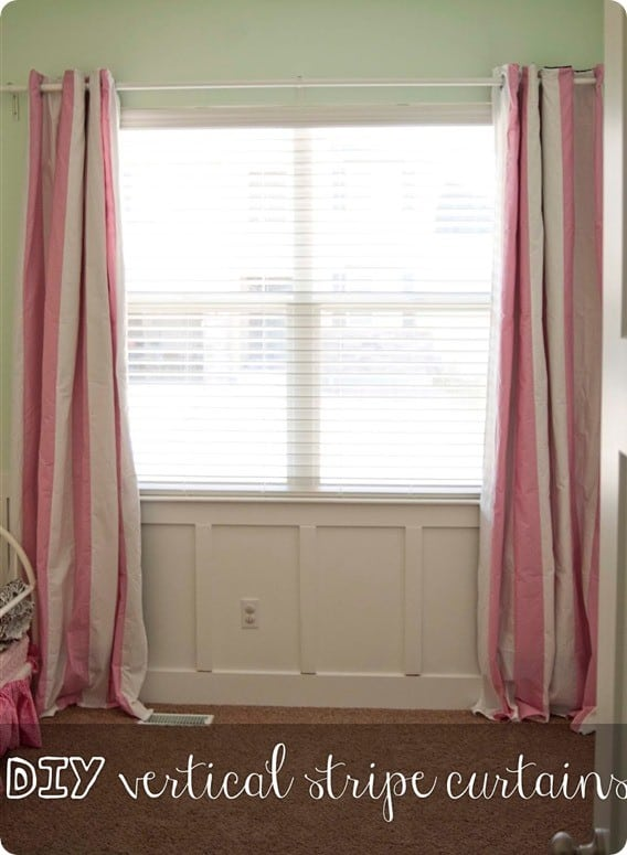 Make Your Own Stripe Curtains From Sheets Knockoffdecor Com