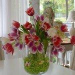 Easter Tulip Arrangement with DIY Double Bowl Hurricane