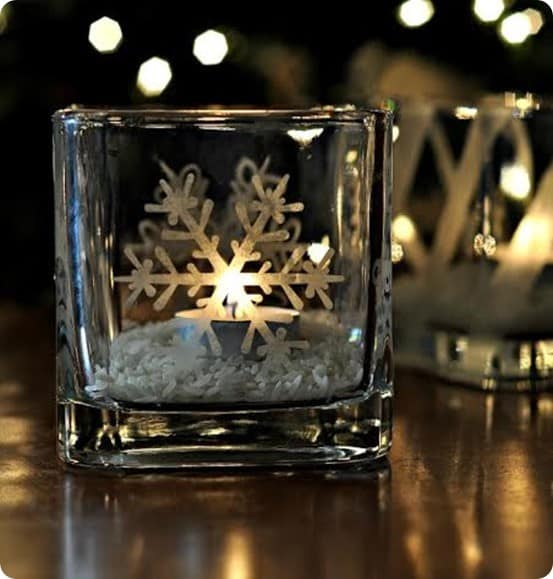 Etched Glass Snowflake Candle Holder Knockoffdecor Com