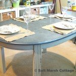 Oval Dining Table with Faux Zinc Tabletop