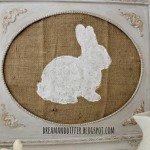 Framed Burlap Bunny Silhouette