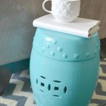 Turquoise Painted Garden Stool