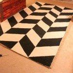 Painted Black and White Herringbone Rug