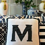Painted Modern Monogram Pillow