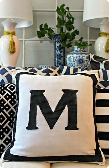 Painted Modern Monogram Pillow Knockoffdecor Com