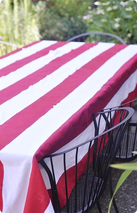 Paint Stripes On A Fabric Tablecloth Knockoffdecor Com