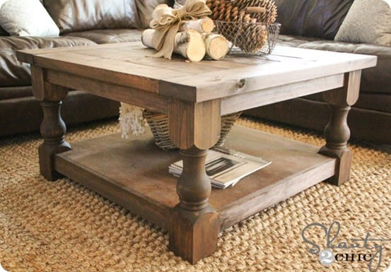 Square Coffee Table With Turned Legs Knockoffdecor Com
