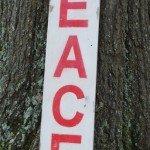 Wooden Peace Sign and Burlap Jingle Pillow