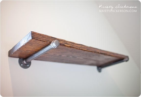Reclaimed Wood Wall Shelves With Metal Brackets