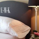 Upholstered Headboard with Embroidered Monogram