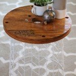 Umbrella Basket to Wood and Wire Accent Table