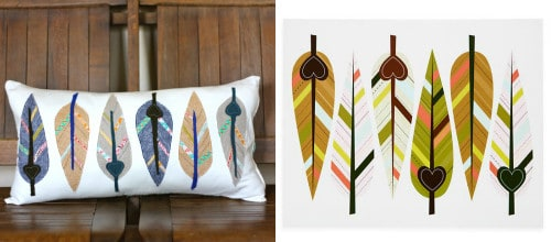 DIY Feather Motif Cushion