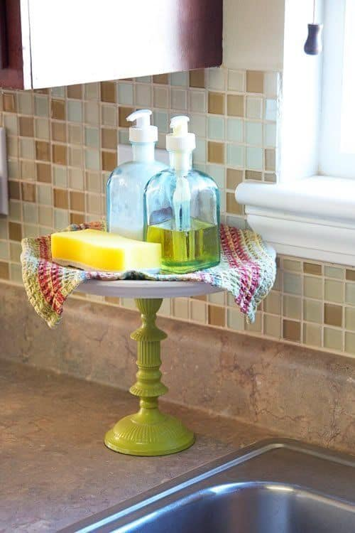 A pedestal keeps your dish soap off of the counter, and looking pretty, too!