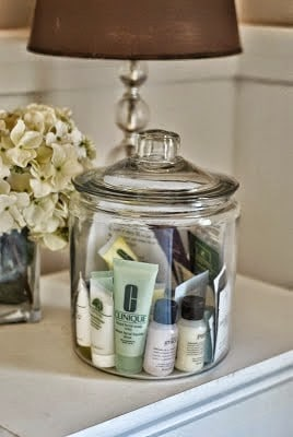 I love the idea of using a clear jar to display toiletries for your visitors.