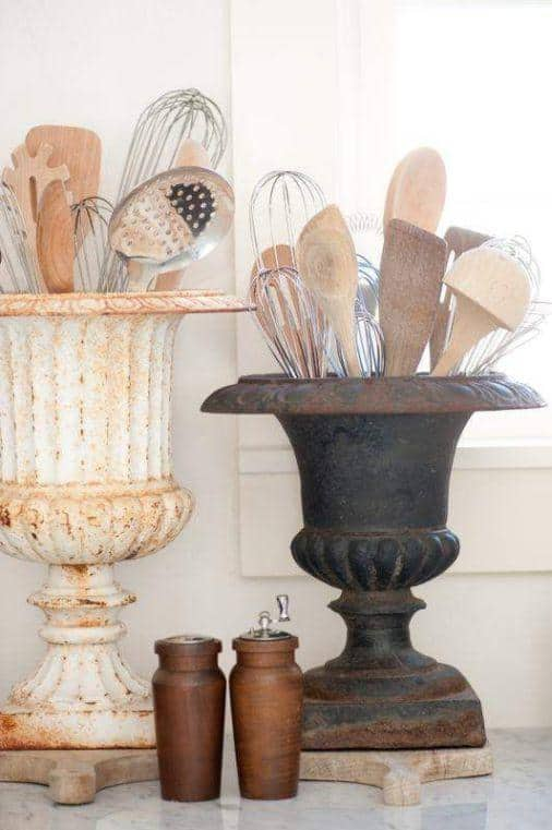 Store your cooking utensils in a pretty jar that matches your kitchen.