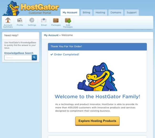 7- Welcome to Hostgator