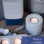 Color-blocked Concrete Candleholders