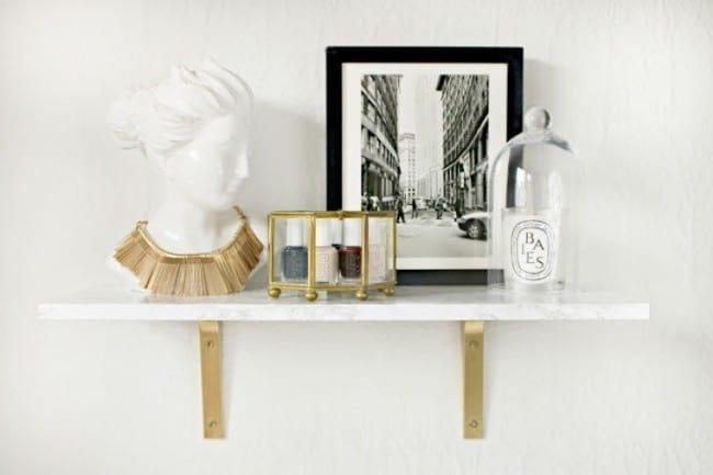 DIY Marble Wall Mounted Shelf