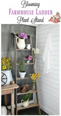 Rustic-wooden-ladder-plant-stand-Knick-of-Time