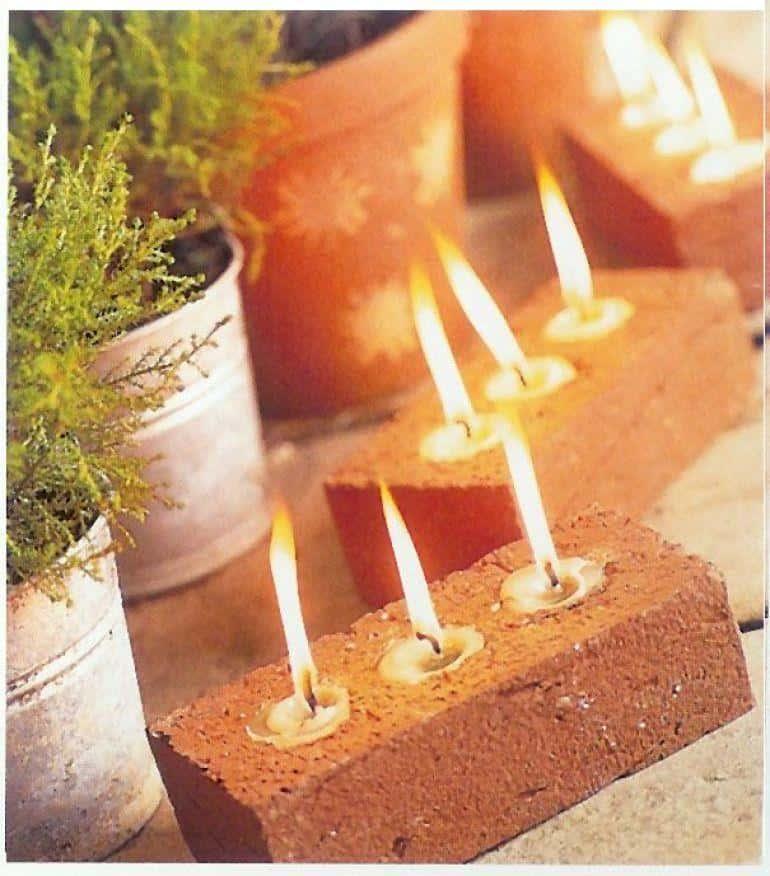 Tea lights in bricks