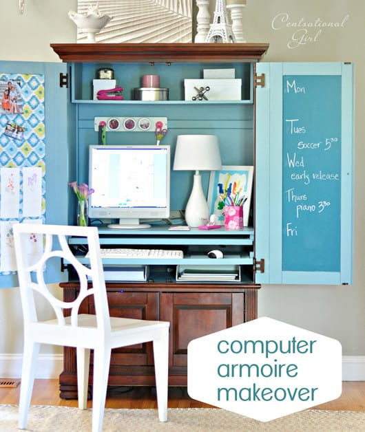 DIY Bright and Colorful Kids Study Armoire