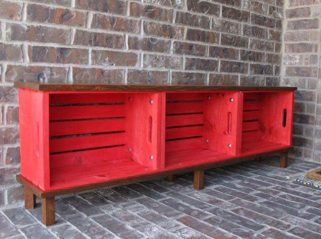 Welcome guests to your home with this DIY bench made from crates.
