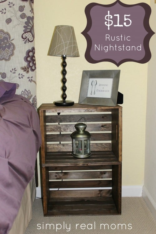 Combine 2 crates for a simple yet classy bedside table.