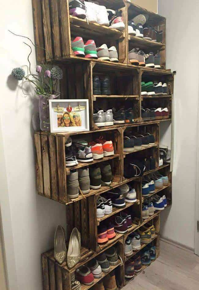 Don't just throw your shoes into a basket. Instead, slide them into a crate shoe rack!