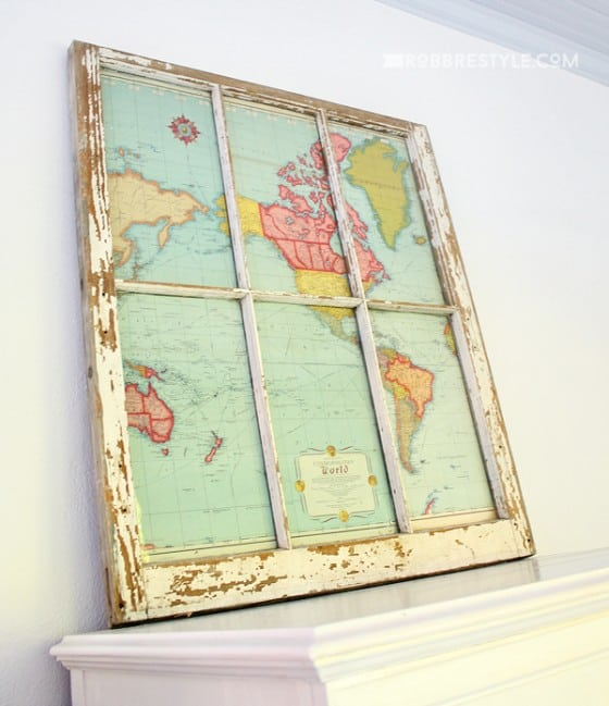 This map and window combination offers an old-world charm.