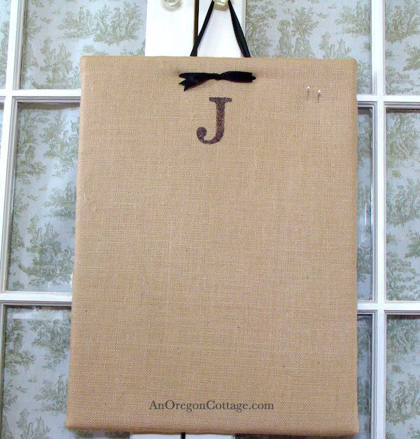 DIY Monogrammed Message Board