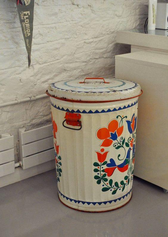Add some flare and style to your room by painting a metal trash can.