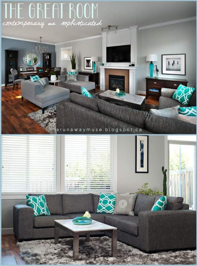 Check out how this blogger added teal accents with pillows and vases.