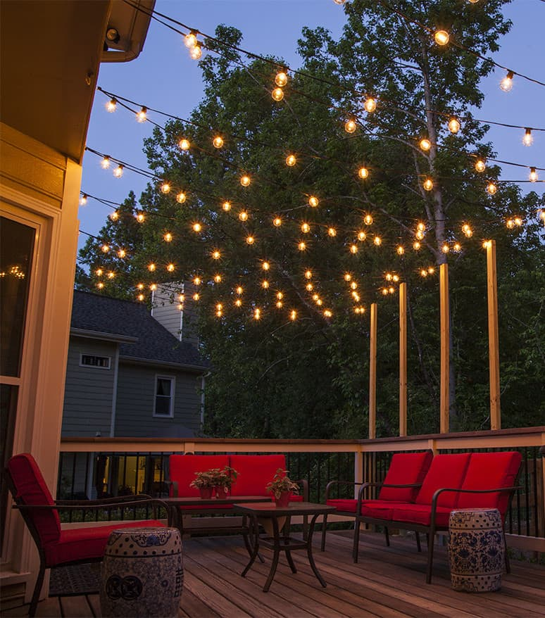 Isn't this an inviting deck with the delicate lights above?